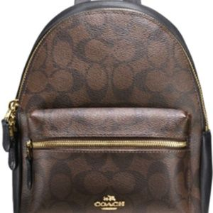 Brown Mini Charlie Signature Leather Backpack